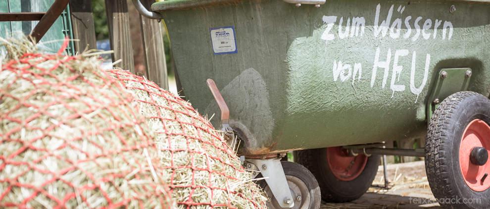 Baden gehen: Zum Wässern von Heu gibt es spezielle Wagen, in denen die Heunetze komplett einweichen können. Anschließend wird das dreckige Wasser über einen Hahn abgelassen.
