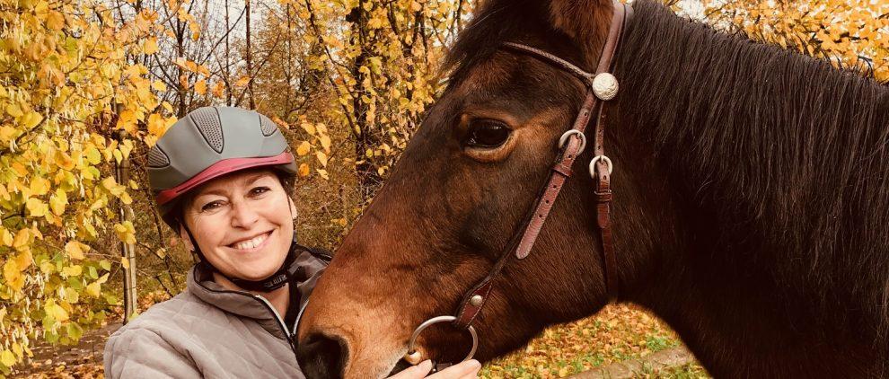 Gute Kombi gegen Verletzungen: älteres Pferd und erfahrener Reiter mit Reithelm. Foto: Felsinger