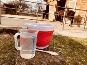 Einweichen nach Maß: Für den Heucobs-Test haben wir Pferde in zwei Offenställen die drei Produkte gefüttert. Foto: Felsinger/FREUNDPFERD.de