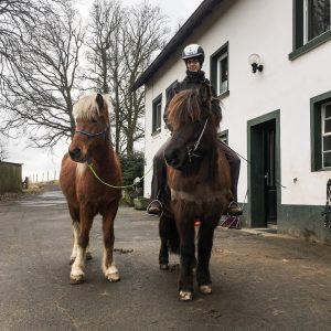 Linda Hensel mit Hausti als Handpferd: Die Pferde stehen am Haus, leben tagsüber auf der Weide und haben genug gutes Heu. Foto: privat